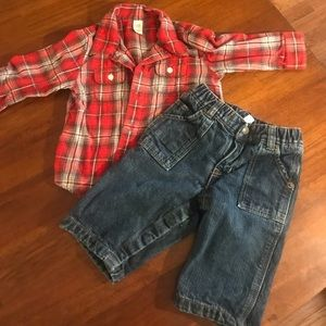 Baby Gap 6-12 months flannel shirt and lined jeans